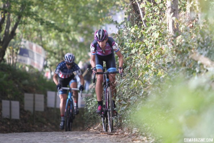 It took a few laps, but Helen Wyman finally escaped on a climb of the famed cobbles. 2017 Women's Koppenbergcross. © B. Hazen / Cyclocross Magazine