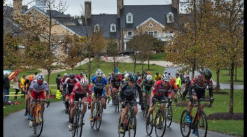 A rainy and muddy Tacchino Cyclocross bicycle race held on the grounds of Salamander Resort in Middleburg Virginia. Master Men's field starts their race and heads up the main drive at the resort. photo: Douglas Graham/Loudoun Now
