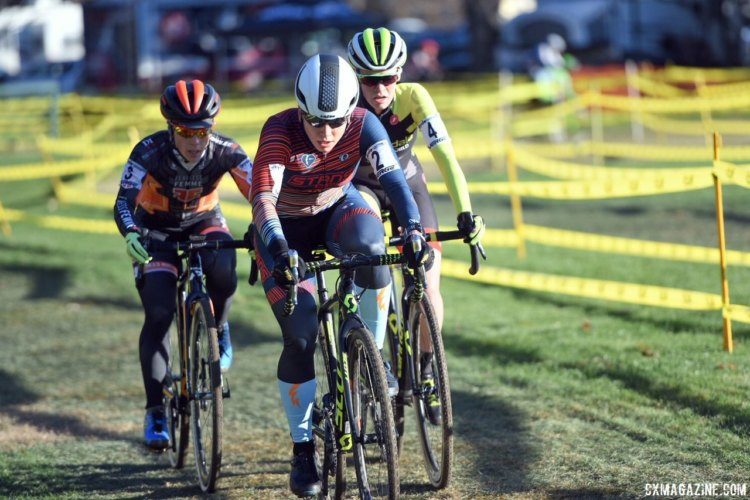 Rebecca Fahringer led the charge in the chase group and finished second. 2017 Northampton International Day 1. © Chris McIntosh