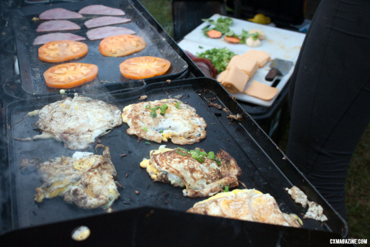 A camp chef was brought along to cook breakfast every morning on the Asheville Ramble Ride. © Cyclocross Magazine