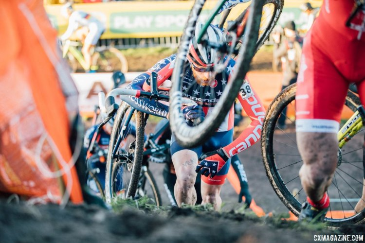 Stephen Hyde battled back to take 31st after a mechanical at the start. 2017 Bogense UCI Cyclocross World Cup. © J. Curtes / Cyclocross Magazine