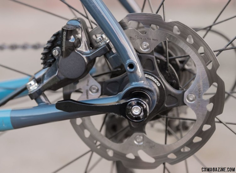The seatstays and chainstays share the brake caliper load. for the post mount setup. A 140mm rotor is the default option. Breezer Inversion gravel / cyclocross bike. © C. Lee / Cyclocross Magazine
