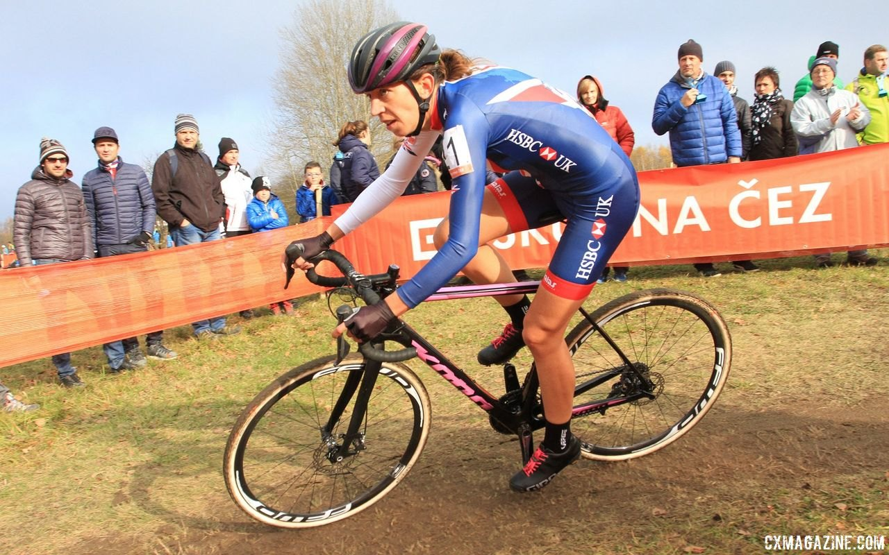 As much as she likes wearing the British national kit, she would like to see Worlds raced in trade kits. 2017 European Championships, Tabor. © B. Hazen / Cyclocross Magazine