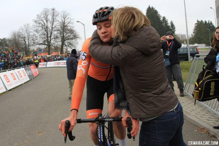 Even the best cyclocross rider in the world is not immune to congratulations from mom. 2017 European Championships, Tabor. © B. Hazen / Cyclocross Magazine