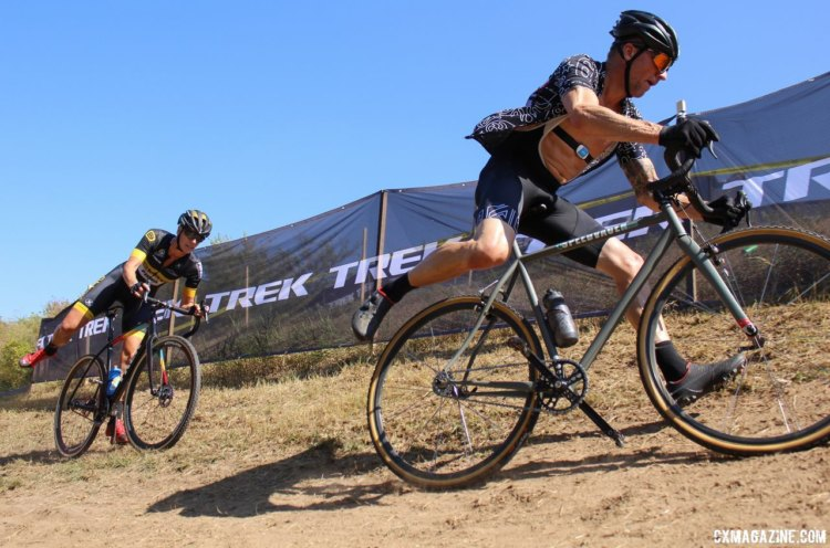 Brother Joe Curtes got to race against Ellen Van Loy at the Trek CX Cup. © Z. Schuster / Cyclocross Magazine