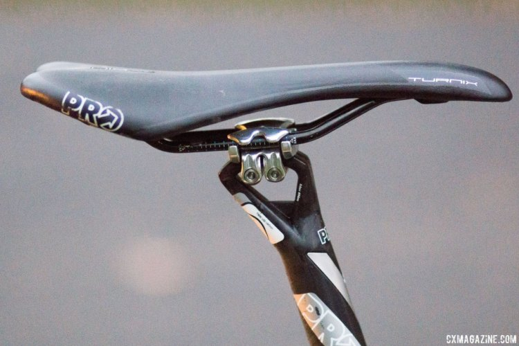Page's PRO Turnix saddle has hollow Ti rails and is pushed back to the maximum line. Jonathan Page's KindHuman Kudu cyclocross bike. © Cyclocross Magazine