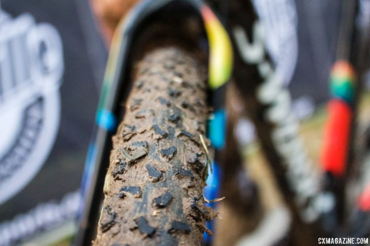 Allen Krughoff (Krughoff Racing) used the newly released Specialized Terra mud tire on Sunday, but removed material from the center line lugs for increased straight line speed. 2017 Pan-American Championships. © B. Grant / Cyclocross Magazine