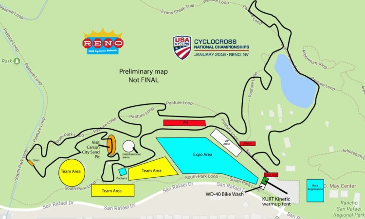 2018 Reno Cyclocross Nationals Preliminary Course Map