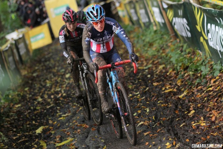 Katie Compton and Elle Anderson rode to 10th and 11th. 2017 Superprestige Gavere. © B. Hazen / Cyclocross Magazine