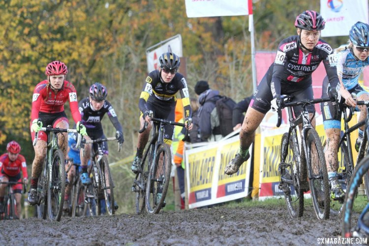 The muddy course made the first lap chaotic. 2017 Superprestige Gavere. © B. Hazen / Cyclocross Magazine