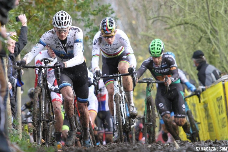 Mathieu van der Poel and Wout van Aert got off to a fast start. 2017 Superprestige Gavere. © B. Hazen / Cyclocross Magazine