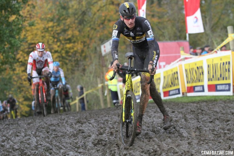 Toon Aerts stepped up to the chase early in the race. 2017 Superprestige Gavere. © B. Hazen / Cyclocross Magazine