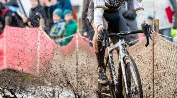 There were a few puddles on Saturday's course. Wout van Aert powers through one here. Elite Men, 2017 Zeven UCI Cyclocross World Cup. © J.Curtes / Cyclocross Magazine