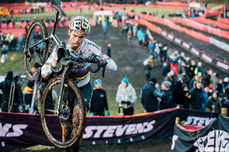 Wout van Aert's performance shined on the muddy afternoon. Elite Men, 2017 Zeven UCI Cyclocross World Cup. © J.Curtes / Cyclocross Magazine