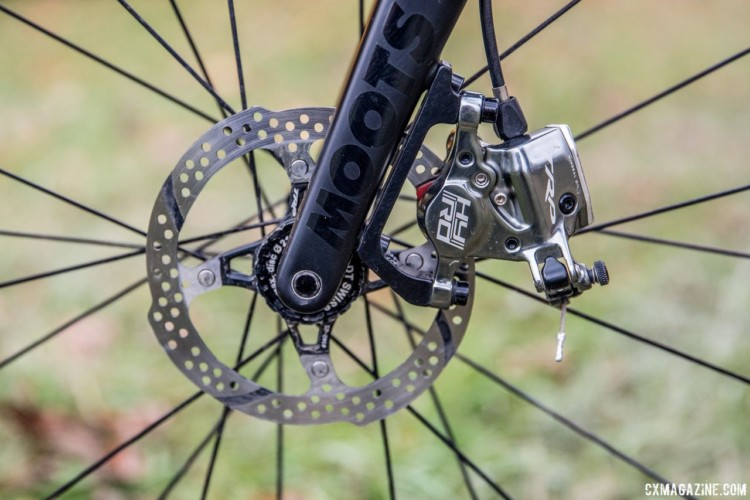 TRP HY/RD brakes are unusual for racers at Hecht's level. This particular one uses an adapter to mount to the Moots flat mount fork. Gage Hecht's 2017 Pan-Ams Moots Psychlo X RSL. © D. Perker / Cyclocross Magazine