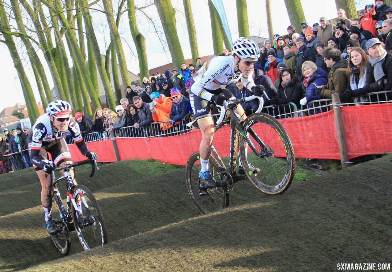 Sanne Cant and Lucinda Brand roll through the rollers. 2017 Azencross Loenhout. © B. Hazen / Cyclocross Magazine