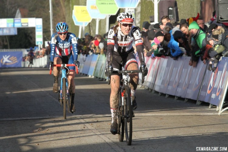 Lucinda Brand outsprinted Katie Compton to take second. 2017 Azencross Loenhout. © B. Hazen / Cyclocross Magazine