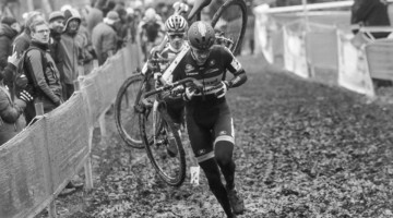 Toon Aerts leads David van der Poel. 2017 Soudal Classics, GP Hasselt, Elite Men. © B. Hazen / Cyclocross Magazine