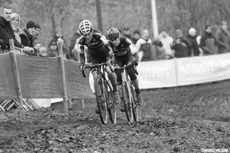 Loes Sels, Ellen van Loy escape the chasers. 2017 Soudal Classics, GP Hasselt, Elite Women. © B. Hazen / Cyclocross Magazine