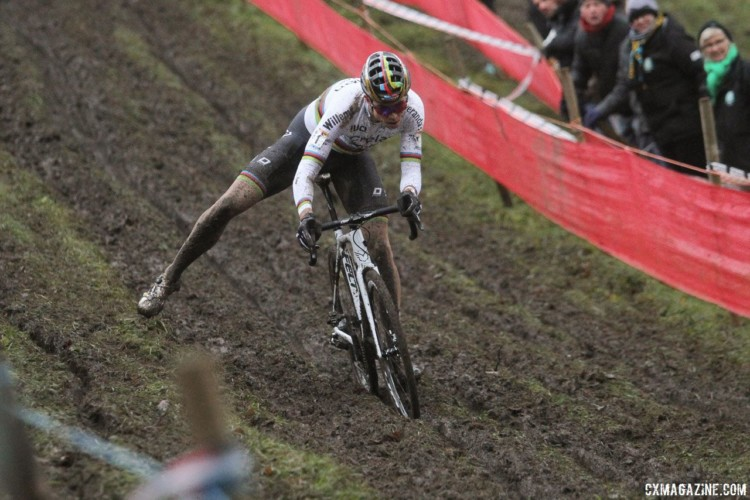 "Wout van Aert applies some ""dutch"" to stay upright on the off-camber. 2017 World Cup Namur. © B. Hazen / Cyclocross Magazine"