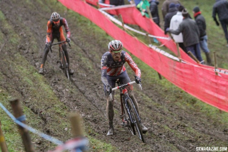 Stephen Hyde had a strong, albeit muddy ride, finishing 11th. 2017 World Cup Namur. © B. Hazen / Cyclocross Magazine