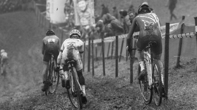 Eli Iserbyt and Tom Pidcock try to keep pace with Sieben Wouters in the U23 race. 2017 World Cup Namur. © B. Hazen / Cyclocross Magazine