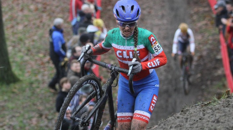 Lechner attacked at the end of the second lap and was in first for a while. 2017 World Cup Namur. © B. Hazen / Cyclocross Magazine