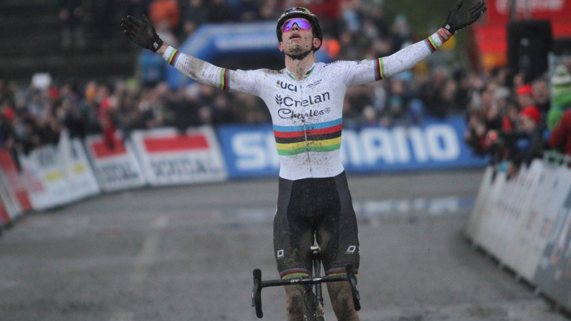 Relief for Wout van Aert after his win. 2017 World Cup Namur. © B. Hazen / Cyclocross Magazine