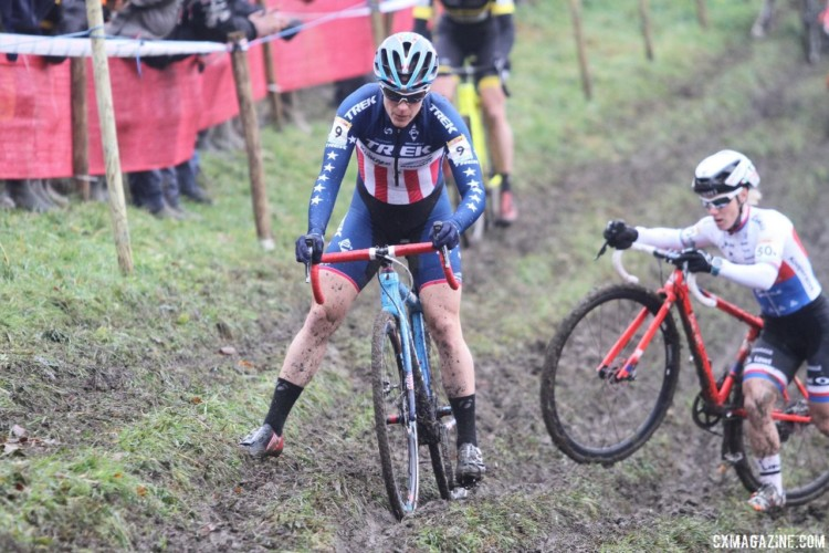 Katie Compton attacked in the second lap, using her skills in the off-camber. 2017 World Cup Namur. © B. Hazen / Cyclocross Magazine