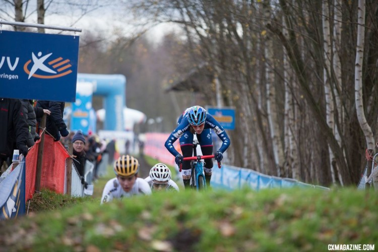 Compton follows Brammeier and Cant over the pump track hills. 2017 Cyclocross DVV Verzekeringen Trofee #4 - Essen. © Cyclephotos / Cyclocross Magazine