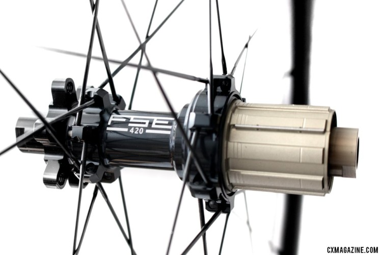 FSE's disc hub is available with a Shimano/SRAM or Campagnolo freehub. FSE (Filament Spin Evolution) EVO 35CD carbon tubeless clincher disc brake wheels. © Cyclocross Magazine