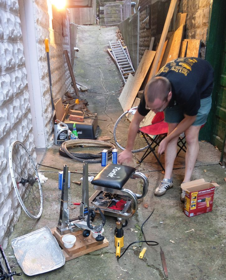 The author in his natural habitat when removing tubular glue. photo: courtesy