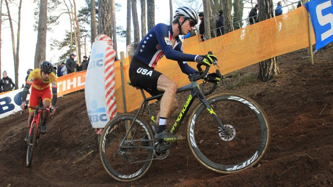 Cooper Willsey was one of the two U.S. riders in the U23 race at Zolder. 2017 World Cup Zolder. © B. Hazen / Cyclocross Magazine