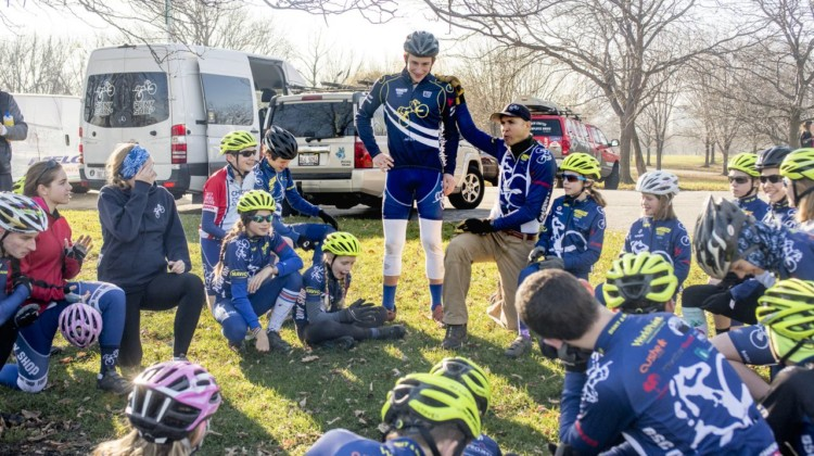 Head Coach Paul Swinand turns a team meeting over to team captain Luke Stover, who gave the Pony Juniors advice about riding through sand. The Montrose Beach/Illinois State Championship race would be Stover's last as a junior. 2017 Chicago Cross Cup #11, Montrose Harbor Illinois State Championships. © 2017 Matthew Gilson