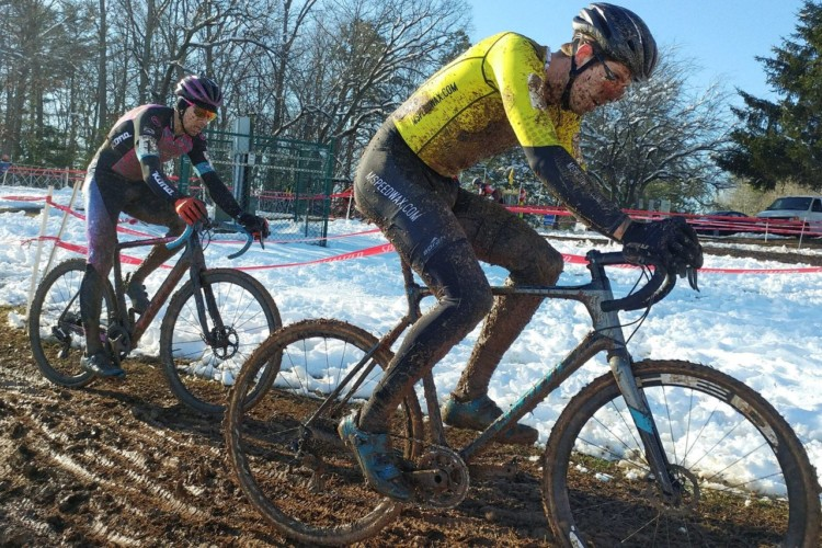 Eric Thompson and Kerry Werner slog through the slushy mud. 2017 North Carolina Grand Prix Day 2. © Laura Rice