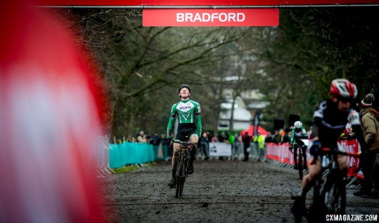 A win and some relief for Oliver Stockwell. 2017 HSBC UK National Trophy Series: Bradford. © C. Morley / Cyclocross Magazine