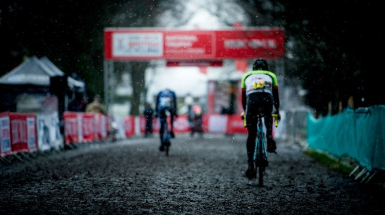 Snow falls as riders enter the penultimate lap. 2017 HSBC UK National Trophy Series: Bradford. © C. Morley / Cyclocross Magazine