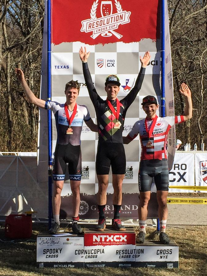 Men's podium: Ortenblad, Kisseberth and Van den Ham. 2017 Resolution Cross Day 2. © Heather Sawtelle