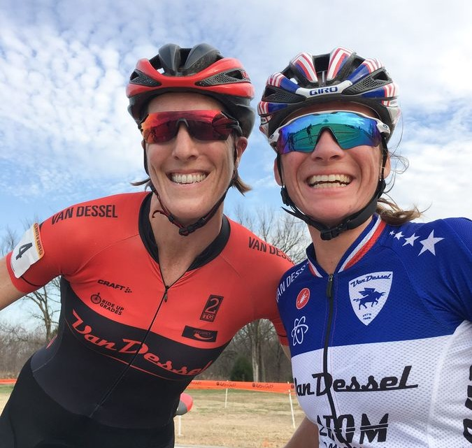 Teammates Sunny Gilbert and Caroline Mani celebrate their podium finishes. 2017 Ruts N' Guts Day 2. photo: Peloton Sports