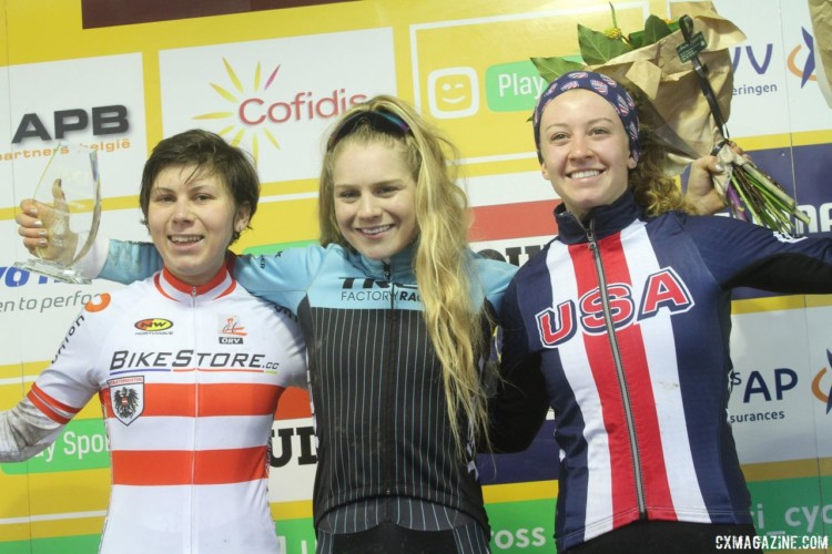 Emma White landed on the U23 podium alongside Richards and Nadja Heigl. 2017 World Cup Namur. © B. Hazen / Cyclocross Magazine