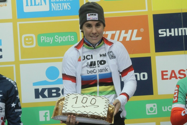 Sanne Cant got a special win on Tuesday. 2017 World Cup Zolder. © B. Hazen / Cyclocross Magazine