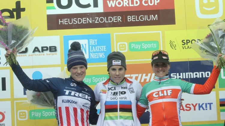 Women's podium: Sanne Cant, Katie Compton and Eva Lechner. 2017 World Cup Zolder. © B. Hazen / Cyclocross Magazine