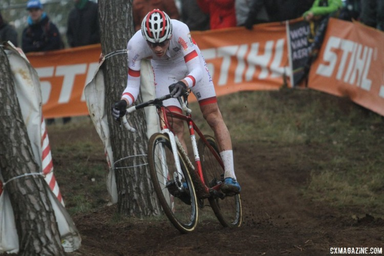 Mathieu van der Poel took control in the fourth lap after Wout Van Aert was unable to follow his attack. 2017 World Cup Zolder. © B. Hazen / Cyclocross Magazine