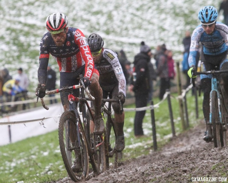 Stephen Hyde had a strong start in the mud on Sunday. 2017 Vlaamse Druivencross. © B. Hazen / Cyclocross Magazine