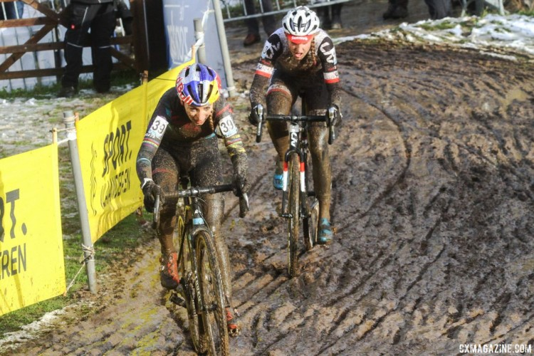 Lucinda Brand and Pauline Ferrand Prevot battled in the second part of the race. 2017 Vlaamse Druivencross. © B. Hazen / Cyclocross Magazine