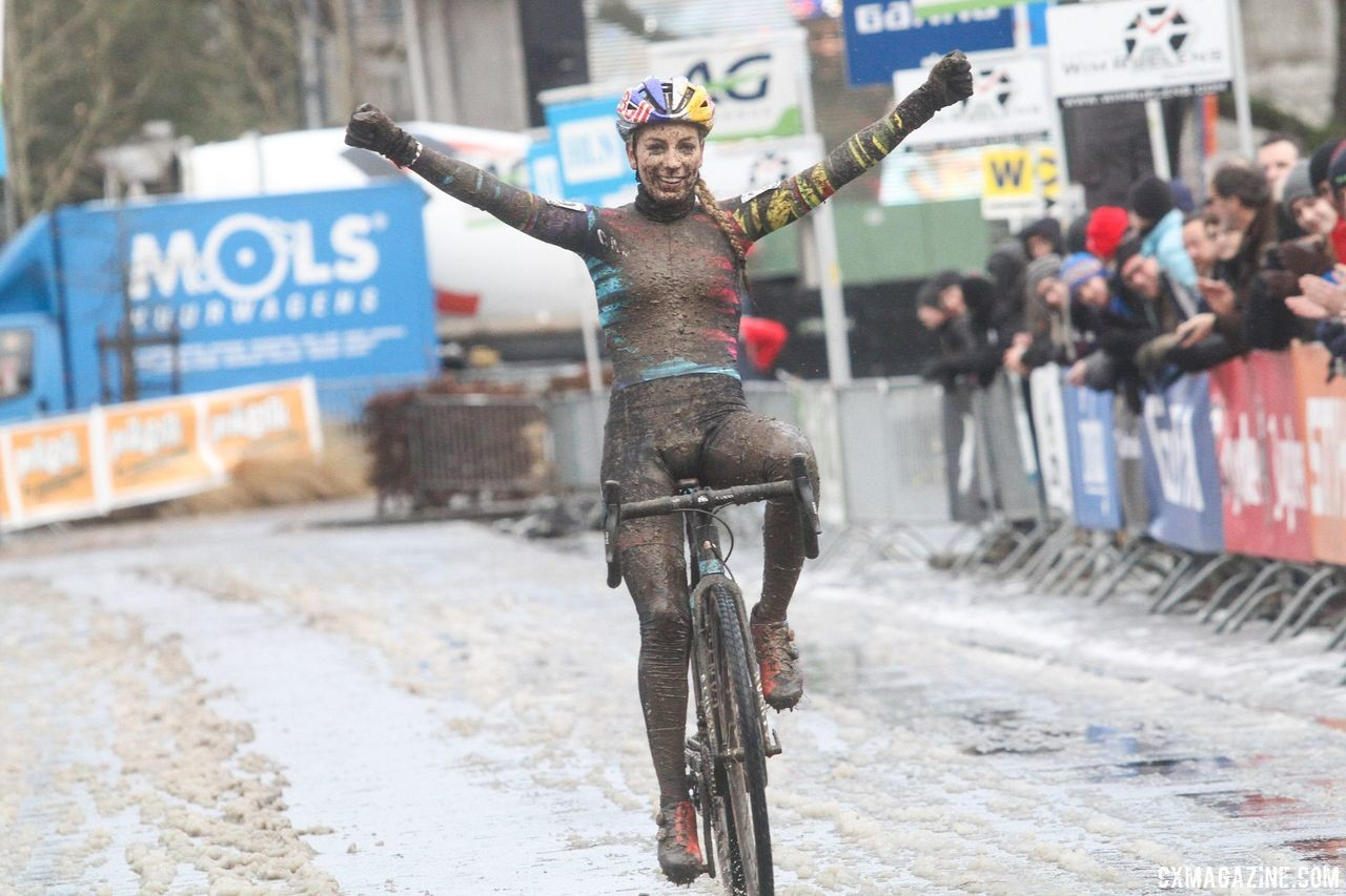 Ferrand-Prevot won a muddy Druivencross during her 2017 return to cyclocross. 2017 Vlaamse Druivencross. © B. Hazen / Cyclocross Magazine