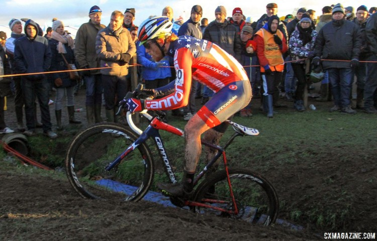 Stephen Hyde hops one of the drainage swales. 2017 Azencross Loenhout. © B. Hazen / Cyclocross Magazine