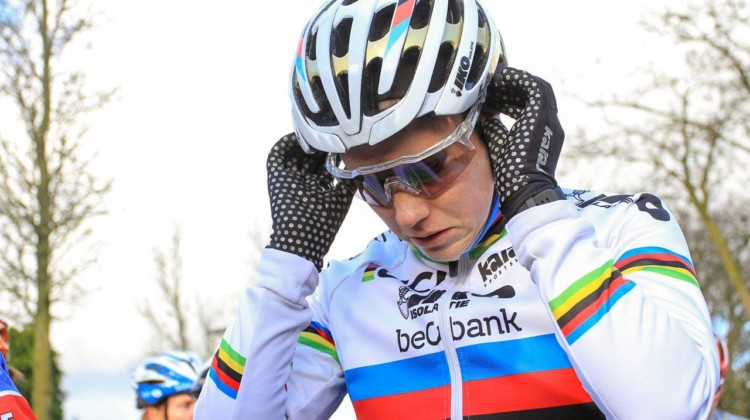 Sanne Cant focuses before her winning ride. 2017 Azencross Loenhout. © B. Hazen / Cyclocross Magazine