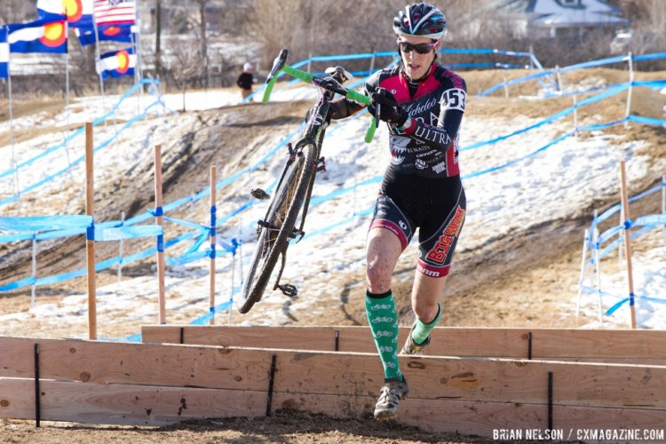 Riding in nasty conditions became second nature for Gilbert after she moved to Oregon. Here, is seen handling the snow at the 2014 U.S. Cyclocross Nationals. © B. Nelson / Cyclocross Magazine