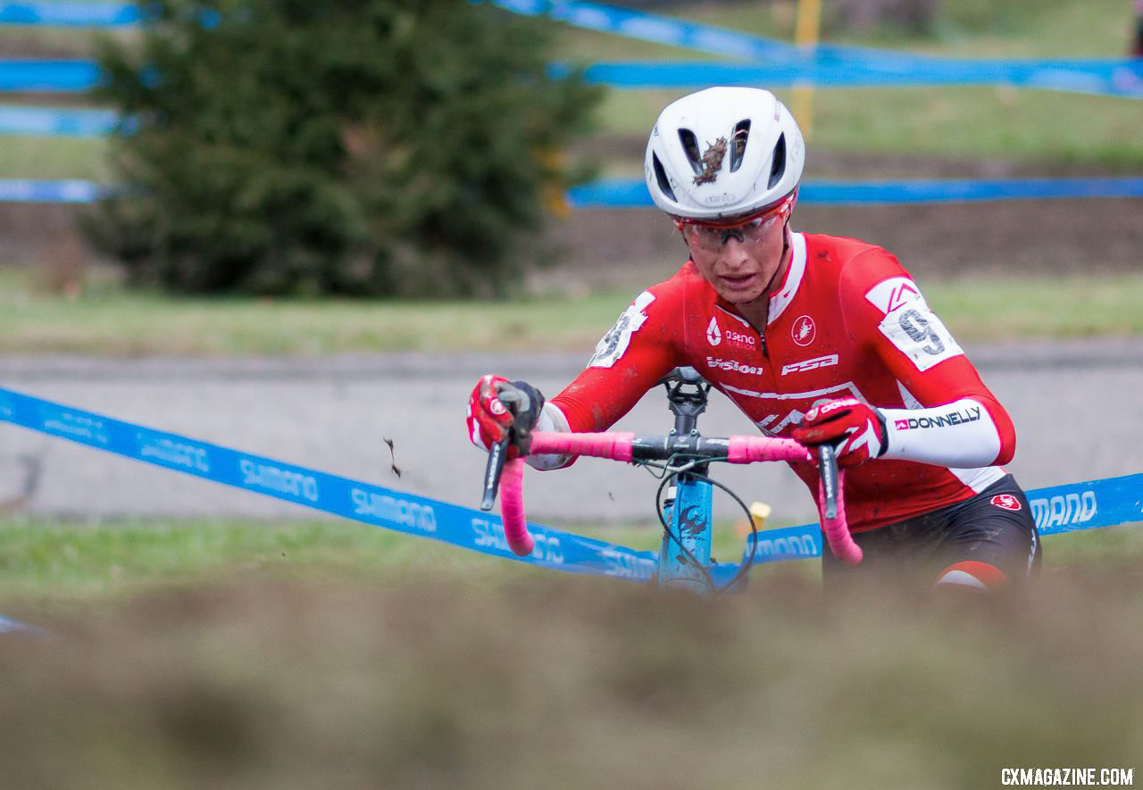Donnelly Cycling's Lance Haidet tackles the muddy Devou course on Day 1. 2017 Cincinnati Cyclocross, Elite Men. © A. Yee / Cyclocross Magazine